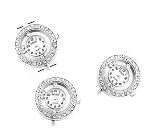 PlanetZia 2pcs Rhinestone Watch Faces with Floating Crystals for Interchangeable Beaded Bands TVT-BL-W20