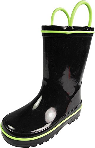 NORTY Waterproof Rubber Rain Boots For Kids - Easy Pull-On Handles - For Boys and Girls - Toddlers and Big Kids