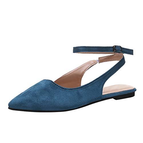 〓Londony〓 Women Girl Round Toe Platform Strap Flat Heel Buckle Sandals Classic Pointy Toe Ballet Slip On Flats Shoes Blue