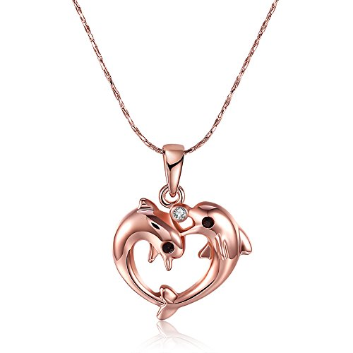 Necklace for Lovers Ladies Teen Girls Girlfriend Rose Gold Heart Love Dolphin Pendant Chain Necklaces for Mom Women Teen Girls (Heart Dolphin)