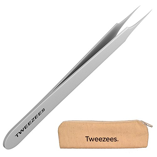 Professional Pointed Ingrown Hair Splinter Tip Tweezers - Tweezees Precision Stainless Steel Tweezers - Extra Sharp and Perfectly Aligned for Ingrown Hair Treatment & Splinter - Tip Pointed