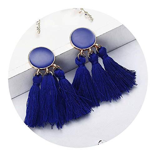 Bohemian Handmade Statement Tassel Earrings for Women Vintage Round Long Drop Earrings,1 ()