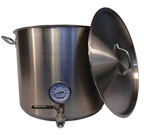 HomeBrewStuff Heavy Duty 20 Gallon Stainless Steel Brewing Kettle Stock Pot w/ Valve and Thermometer