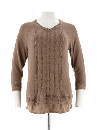 Liz Claiborne Women Clothing - Liz Claiborne NY Long SLV Pointelle Pullover Faux Sweater Mocha L New A272814
