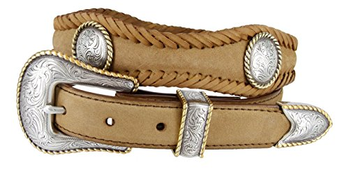 Baron Gold Round Rope Edge Conchos Western Leather Scalloped Belt 1 1/2