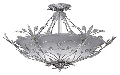 Crystorama 4707-SL Leaf, Flower, Fruit Six Light Ceiling Mounts from Paris Flea Market collection in Pwt, Nckl, B/S, Slvr.finish,