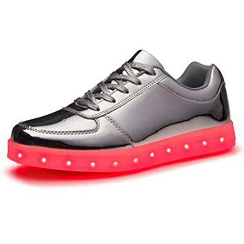 (Present:kleines Handtuch)JUNGLEST 7 Farbe USB Aufladen LED Leuchtend Sport Schuhe Sportschuhe Sneaker Turnschuhe für Unis Silber