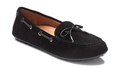 Vionic Women's Honor Virginia Loafer - Ladies Moccasin with Concealed Orthotic Arch Support Black Suede 8 Medium US