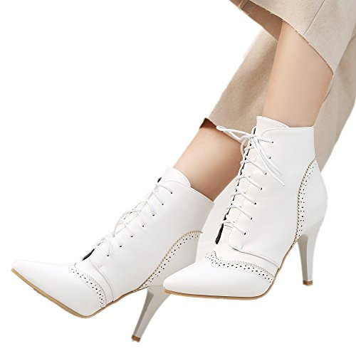 White Pointed up Stilettos Rongzhi Toe Heels Ankle Lace Womens Booties Pumps Boots rqnxqXwZPc