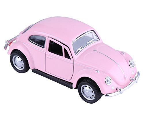 Berry President Classic 1967 Volkswagen Vw Classic Beetle Bug Vintage 1/32 Scale Diecast Metal Pull Back Car Model Toy For Gift/Kids (PINK)