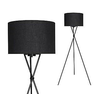 Briloner Leuchten Lampadaire intérieur moderne en métal avec abat-jour noir – Douille E27, 60w max. – Lampe au sol pour…