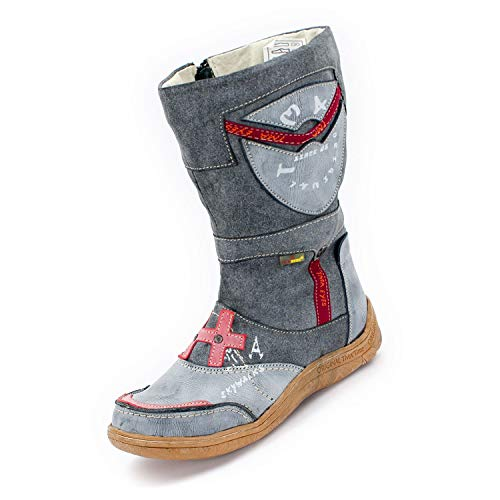 TMA SEELENlook Womens Leather Faux Leather Winter Boots Charcoal