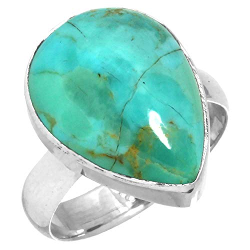 Solid 925 Sterling Silver Ring Natural Kingman Turquoise Handmade Jewelry Size 5