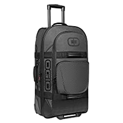Wide mouth main compartment opening mesh organization dividers with Zippered pockets opening oversized external pocket with internal Zippered mesh pocket telescoping pull handle interior neoprene lining heavy duty chassis rugged zippers and t...