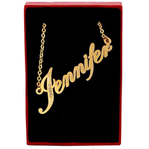 Zacria Italic Name Necklace Jennifer Crystals Gold Tone Incl