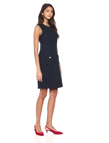 Karl Lagerfeld Paris Women's Tweed Shift Dress with Pockets