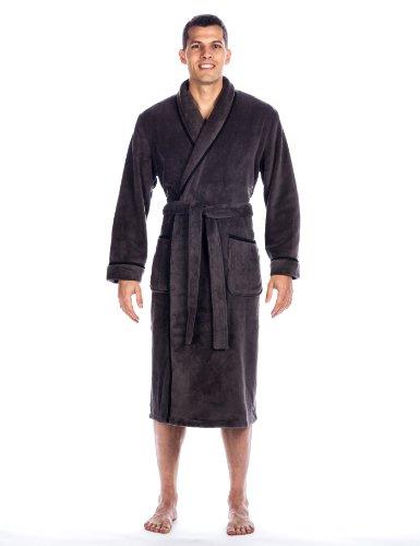 (Mens Premium Coral Fleece Plush Spa/Bath Robe - Dark Gray - Large/XLarge)