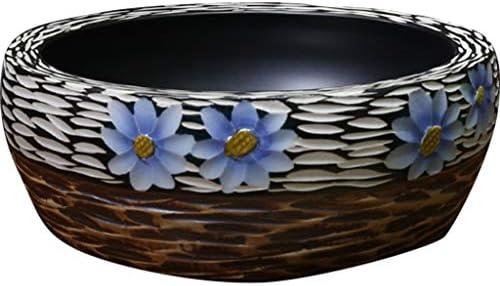 洗面ボール・洗面器 魚の鱗彫刻ヴィンテージアートカウンター盆地 浴室セラミックラウンドランドリー浴槽 廊下の庭の洗面器 (Color : Blue, Size : 40*15cm)