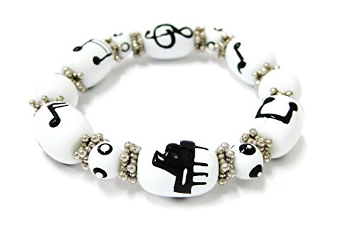 Linpeng Woman Stretch Bracelet Hand Painted Piano & Music Notes Glass Beads Size 8~12mm Length 7.5