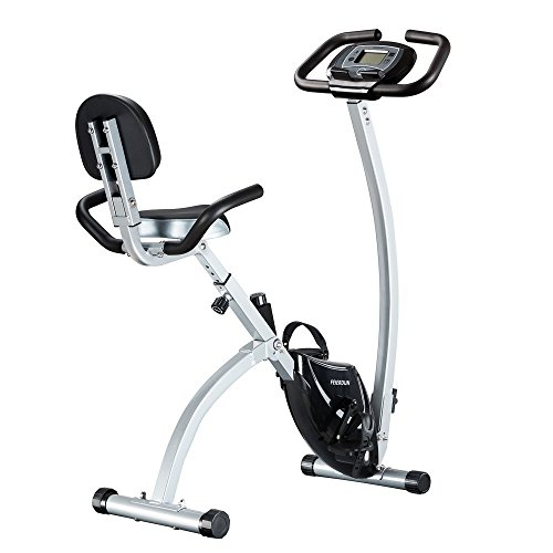 FEIERDUN Exercise Bike, Folding Stationary Bikes Adjustable Upright Magnetic excersize bicycle