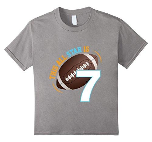 Football Star (Kids Football Star is 7 Boys Birthday Party Boy Kids T-Shirt 8 Slate)