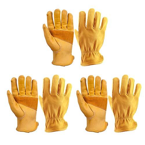 OZERO 3 Pair Flex Grip Leather Working Gloves Stretchable Tough Cowhide Work Glove (Gold, Medium)