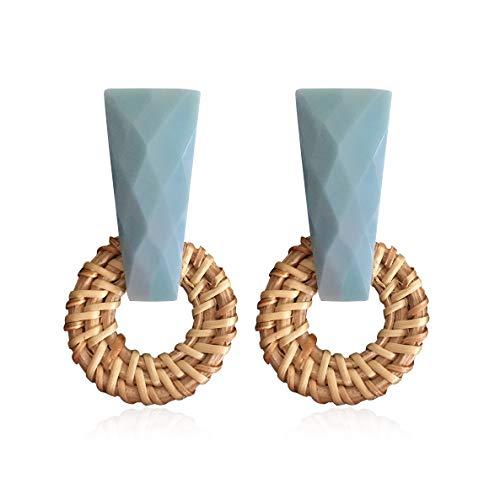Braid Raffia Straw - Woven Rattan Resin Earrings for Women Handmade Straw Knit Wicker Raffia Braid Drop Dangle Statement Earrings (Blue-1)