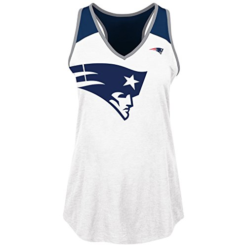 NFL New England Patriots Adult Women NFL Plus Patriots V Neck Muscle Tank,1X,WHT/NVY