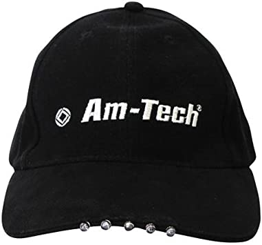LED BLACK BASEBALL CAP HAT 5xLEDs LIGHTS