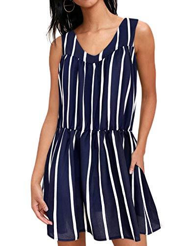 (RUUHEE Women Swimsuits Bikini Beach Cover up Ruffle Dot Polka Casual Dress Sleeveless (XL(US Size 10-12), Stripe))