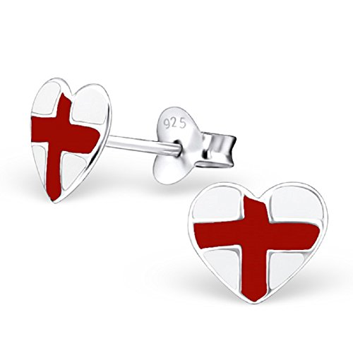 925 Sterling Silver England Heart Stud Earrings 21907 by ICYROSE (Image #3)