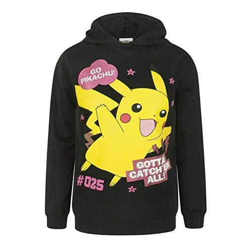 Pokémon Gotta Catch 'Em All! Official Hoodie Top in Black for Girls Full Sleeves 100% Cotton (9-10 Years (134-140cm))