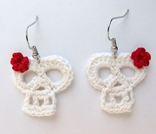 Crochet White Skull & Red Flower earrings/Sugar Skull/Dia de los Muertos/Costume Jewelry/Halloween / Day of the Dead/Calaveras / -