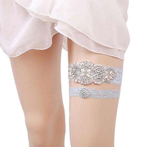 WoodBury Wedding Garter Belt Set Throw Away and Keep One with Rhinestones Pearls Ligth Blue