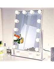 Chende Vanity Mirror with 3 Different Lighting Settings, Hollywood Makeup Mirror with Lights for Touch Control Design, 12 Dimmable LED Bulbs (White)