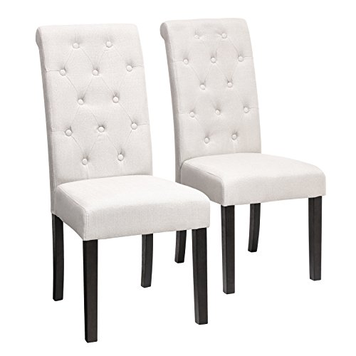 SONGMICS Cotton-Linen Upholstered Dining Chair, Set of 2, Button Tufted Parson Chair, Solid Wood Legs, Seat Height 18.5