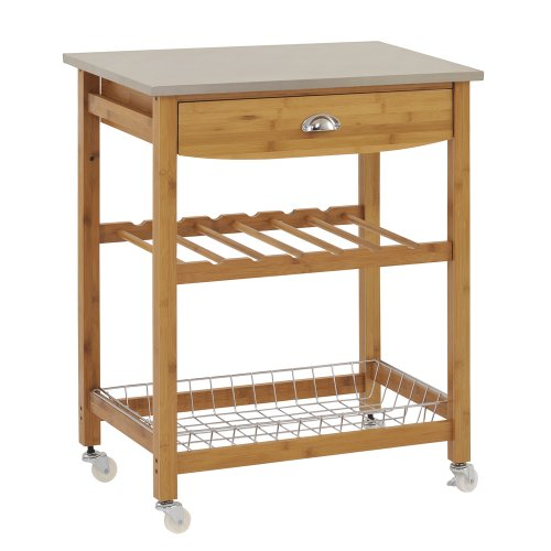 "Sandusky Lee MKT282034 Wood Kitchen Utility Cart with Stainless Steel Top, 28"" Length x 20"" Width x 34"" Height,..."