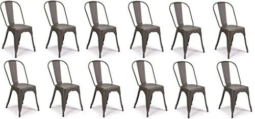 SET OF 12 Tolix Style Iron Chairs, COOPER MATTE ESPRESSO, Sturdy/Stackable Vintage Tabouret Chair, Bistro Chair, Café Chair Indoor and Outdoor Armless with Back