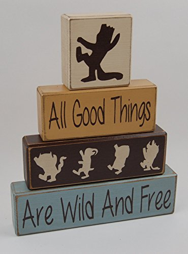 (Primitive Country Wood Stacking Sign Blocks Nursery Children Room Decor Where The Wild Things Are-All Good Things Are Wild And Free)