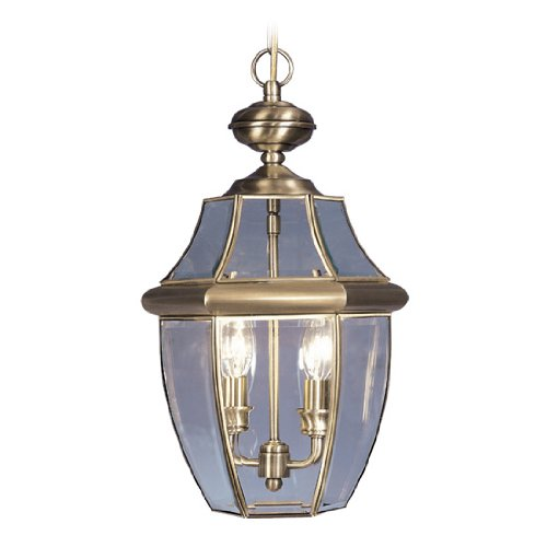 Livex Lighting 2255-01 Monterey 2 Light Outdoor Antique Brass Finish Solid Brass Hanging Lantern  with Clear Beveled Glass - Pendant Bound Glass Lantern Light