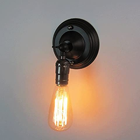 Vintage Wall Light Rustic Loft Antique Wall Lamp Vintage Pipe Wall Sconce Decorative Fixtures Lighting Luminaire (Black)