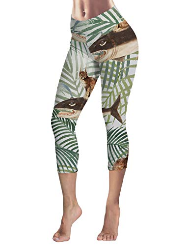 Leggings for Women Tropical Plants Palm Leaves Whale Lynx 3/4 High Waist Printed Yoga Pants Sport Gym Leggings Workout Size S ()