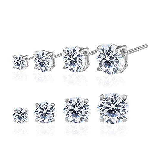 Spoil Cupid 14k Gold Plated Sterling Silver Cubic Zirconia Classic Basket Prong Set Stud Earrings