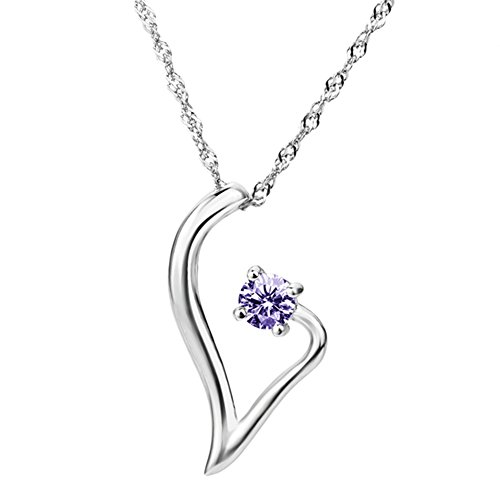 Dream Rover Jewelry 925 Sterling Silver Open Heart Pendant with Purple Crystal Neckalce 18