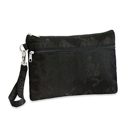 Silk Jacquard iPad Mini Wristlet (Black)