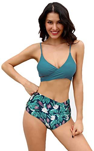 SHEKINI Womens Bathing Suits Printing Bottoms Push Up Bikini Two Piece Swimsuits (Deep Green - B, Small)