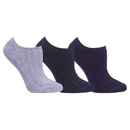 (Yummie Ladies' Comfort Socks 3-pair ~ for Women ~ 2-In-1 Reversible sock with 2 dark 1 gray)