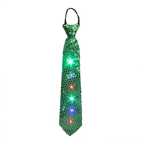 [Light up Ties, DAXIN DX LED Sequin Neck Ties Novelty Blinking Party Neckties Glow Boys Zipper Tie Rave Costume for Kids, Colorful LED Lights, Party Favors] (Skeleton Glow Stick Costume)