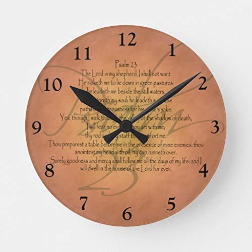 OSWALDO Psalm 23 KJV Christian Bible Verse Round Wood Wall Clock 12 inch for Room Decor