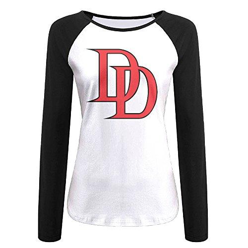 [Creamfly Womens Daredevil Logo Long Sleeve Raglan Baseball Tshirt XL] (Ign Batman Costume)